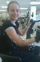Bionic girl! Waking up those ARM muscles!