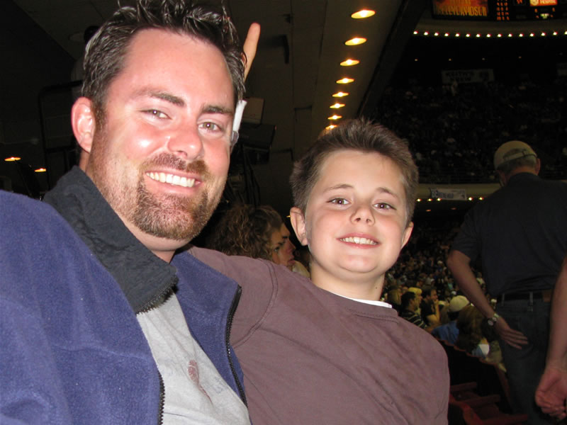 Daddy & Drew at an Orlando Magic game